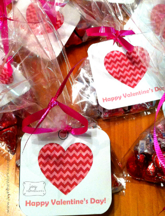 Chocolate Hugs and Kisses in Gift Bags with Valentine Heart Tags