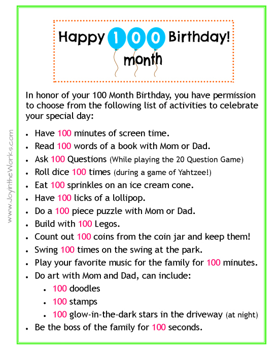 Celebrate your child's 100 Month Birthday with these fun activities