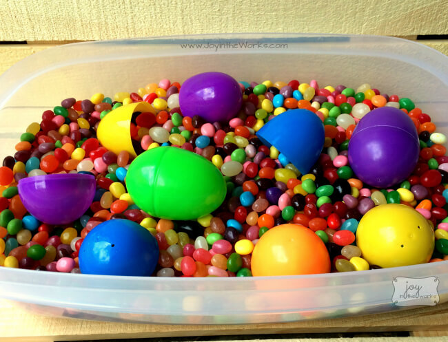 All the leftover jelly beans from our Jelly Bean Taste Test made a great Easter sensory bin too!