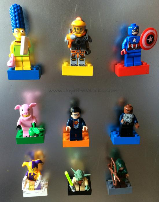 Lego Minifigure Magnets on Display