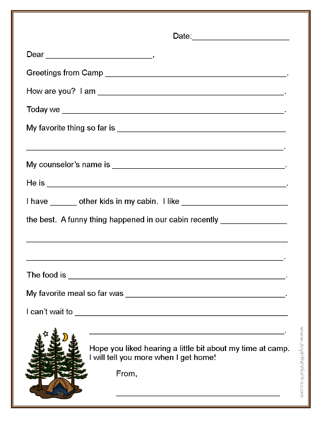 fill in the blank letters to and from camp joy in the works