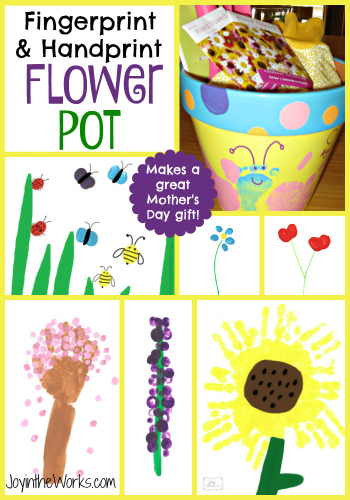 Fingerprint and Handprint Painted Flower Pot with 6 different design ideas! Makes a great Mother's Day gift too!