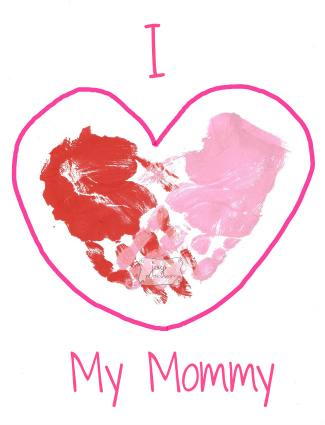 I love Mommy Handprint Hearts