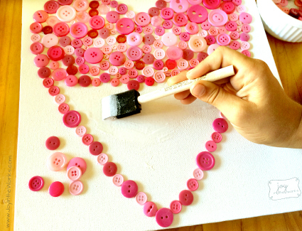 Button Heart Filled In using glue and foam brush