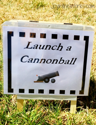 Launch a Cannonball Party Sign