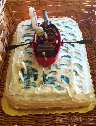 Our last minute simple pirate cake that replaced our Pinterest fail 3D pirate ship cake