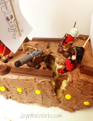 Pirate Ship Cake starts to fall apart and our first plan was to say that it was hit by a cannonball and just go with it...until it fell completely apart!