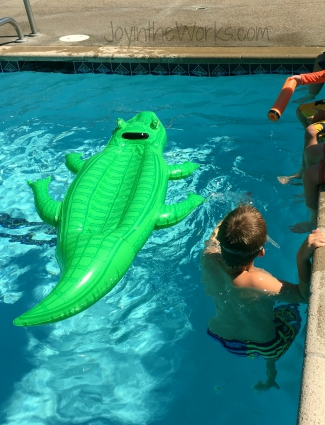 Pirate Pool Party activity: wrestle a crocodile