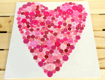 Easy, yet strinkingly beautiful button heart is a wonderful Valentine's Day craft or a Mother's Day gift