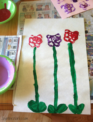 A fun art project on Valentine's Day- celery print flowers!