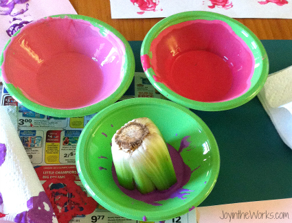 Using celery for flower prints using Valentine colors