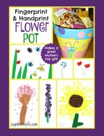 Fingerprint and Handprint Painted Flower Pot
