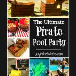 Nothing is more fitting for a pirate birthday party than having it at the pool! We walked the plank, dove for treasure and launched cannonballs! Check out JoyintheWorks.com for more ideas and decor, plus a hilarious cake fail!