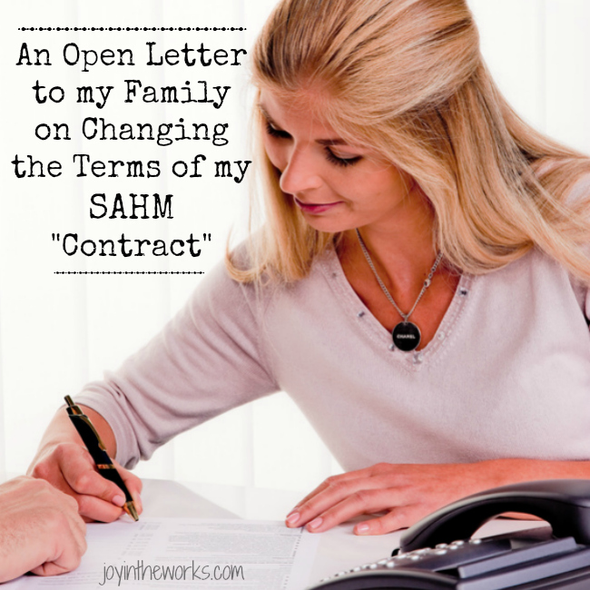 "After 3 kids, it's time to change the terms of my SAHM ""Contract"". Check out this tongue in cheek open letter to my family or J Industries as I like to call them!"