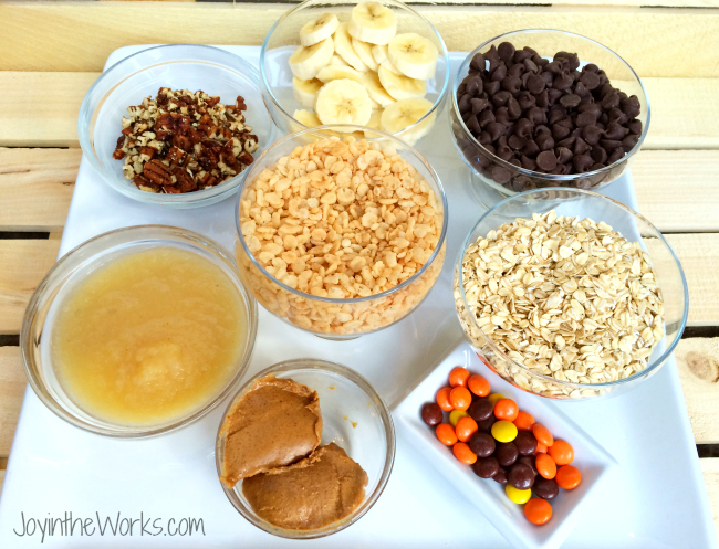 We used a variety of mix ins for our cookie wars- basically anything we had around the house! We had chopped pecans, bananas, chocolate chips, apple sauce, rice krispie cereal, oatmeal, peanut butter and Reese's Pieces