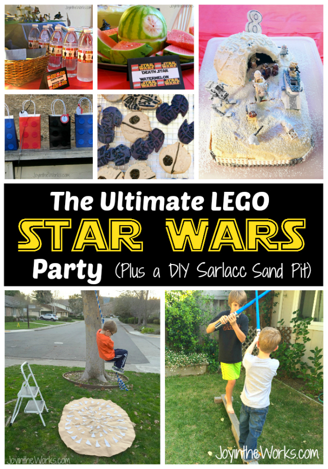 The Ultimate Star Wars (and Lego Star Wars) Party Guide- includes games like light saber battles on a balance beam and swinging over a Sarlacc sand pit. Plus a Hoth cake, food ideas, decoration and favor ideas!