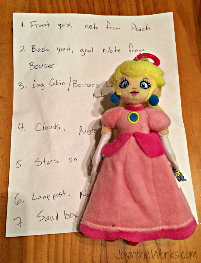 Notes for Save Princess Peach Scavenger Hunt for the best Super Mario party game we did!
