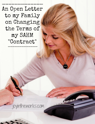 """After 3 kids, it's time to change the terms of my SAHM """"Contract"""". Check out this tongue in cheek open letter to my family or J Industries as I like to call them!"""