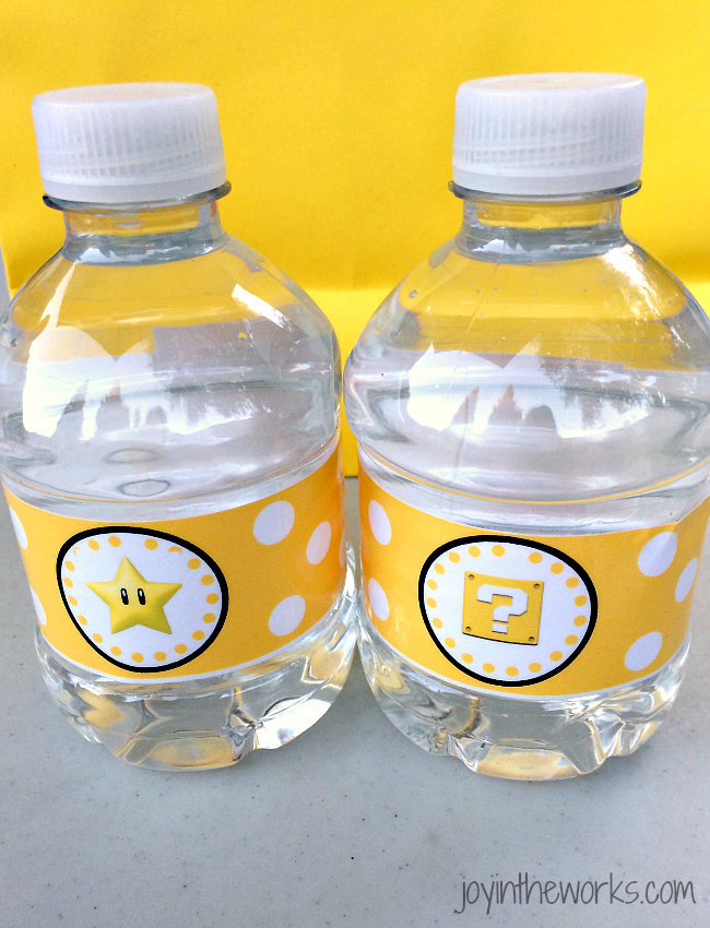 Super Mario Water bottle labels