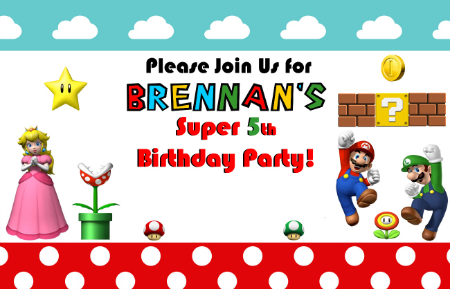 Sample Super Mario Birthday Party Invitation