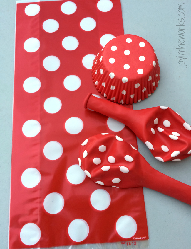 To save money, we don't use a lot of character themed plates and party goods, instead we used a lot of red and white polka dots to go with our Super Mario party theme. They are cheaper and reasusable!