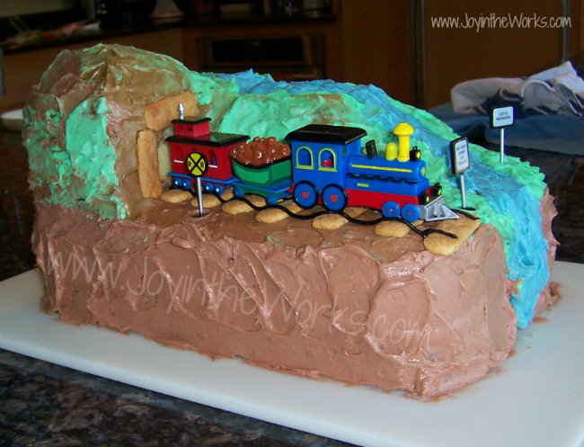 Husband makes amazing train birthday cake for son's 3rd birthday!