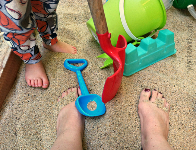 Putting my toes in the sandbox at home helps keep the vacation alive after I get home.