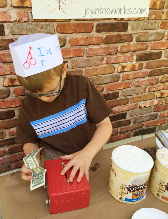 Collecting money for his Ice Cream Shop #sweetertogether #ad