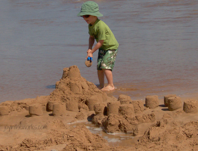 Building complicated sandcastles while on vacation