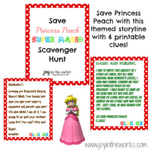 Save Princess Peach at your Super Mario birthday party! Includes 6 themed clues and instructions for clue locations