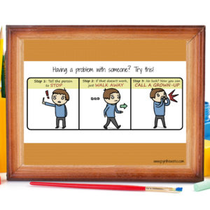 Use this fun comic to reinforce the 3 hand movements and steps for teaching conflict resolution