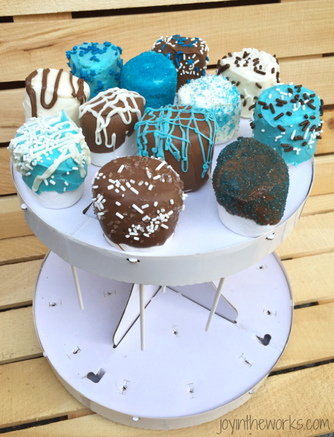 variety of decorated marshmallow pops perfect for baby shower favors