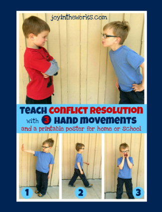 An easy to way to teach conflict resolution to kids with 3 simple hand movements