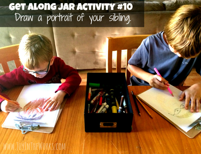 Get Along Jar Activity: Draw a picture of your sibling.