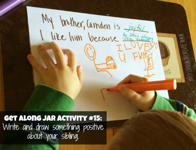 Get Along Jar Activity: Write and draw something about your sibling.