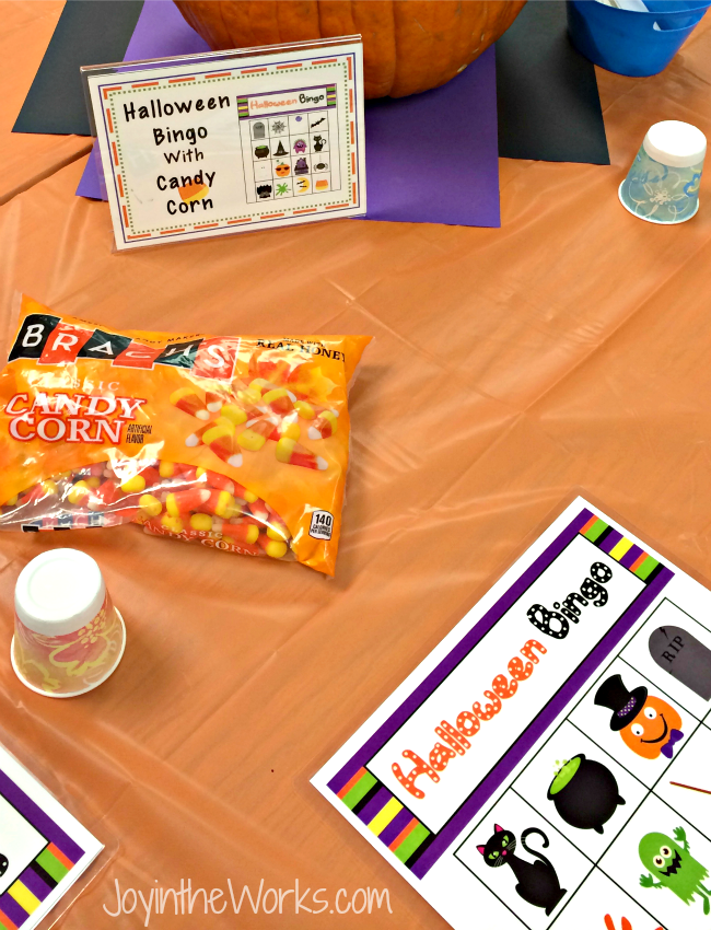 Halloween Bingo game with candy corn markers