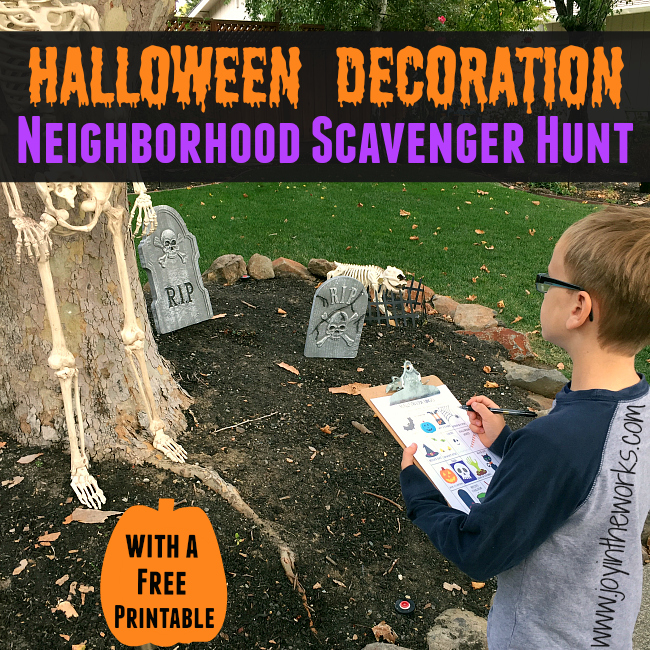 Looking for a fun family activity before Halloween? Check out this free printable Halloween decoration neighborhood scavenger hunt! At night or during the day, your kids can find skeletons, cauldrons and Halloween lights!