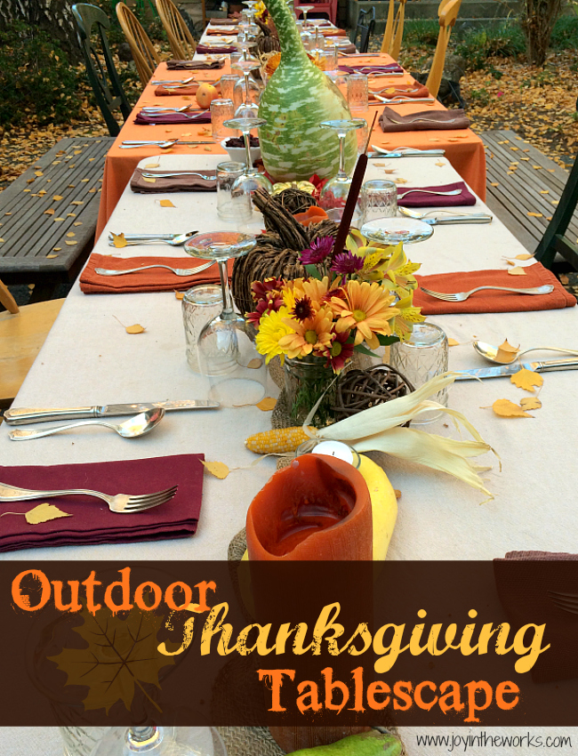 outdoor thanksgiving tablescape joy in the works. Black Bedroom Furniture Sets. Home Design Ideas