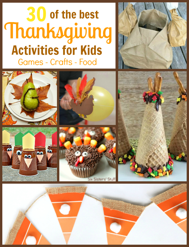 Looking for ways to entertain the kids on Thanksgiving? Check out 30 of the best Thanksgiving activities for kids. Includes Thanksgiving games, Thanksgiving crafts and Thanksgiving foods for kids
