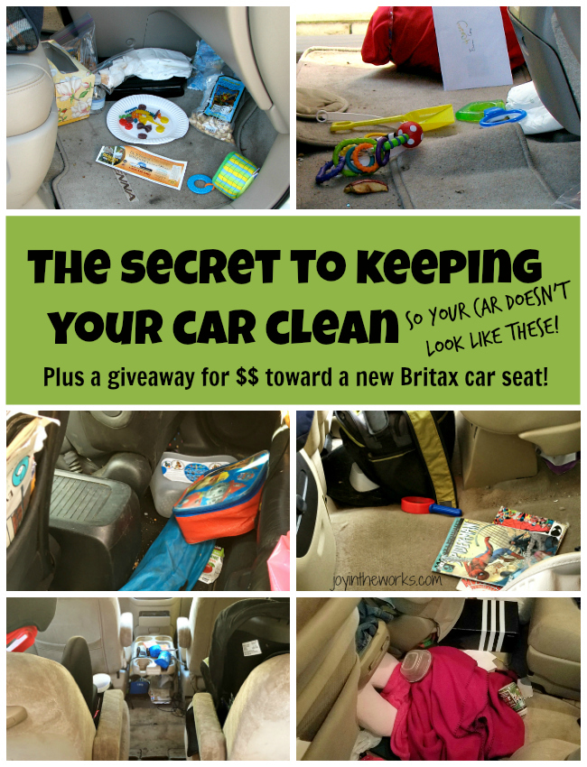 Struggle with a messy car? I discovered a secret that has completely changed things- and my kids still eat in the car! Plus you can see some of the best messy mom cars around AND win money toward a new Britax car seat! #Giveaway