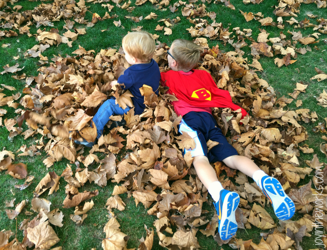 There's always time to stop and play in the leaves!