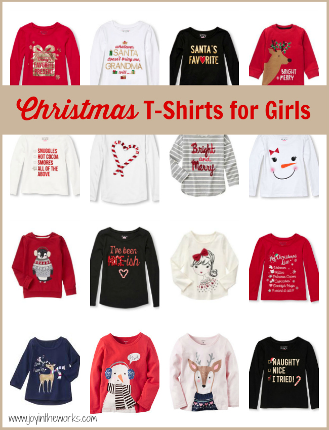6eed1da5 Christmas T-Shirts for Girls - Joy in the Works