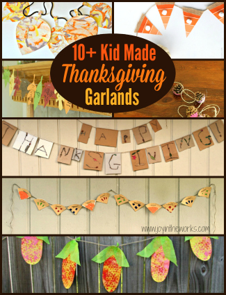 Crafts on Thanksgiving are a great way to keep the kids entertained while the turkey cooks, but kid made Thanksgiving garlands and banners are even better because they double as decorations!
