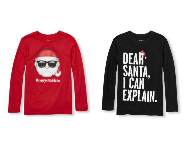 dc33a5c34 ... Check out the best Christmas t-shirts for boys from Gymboree, Carters,  The Santa Emoji T-Shirt ...