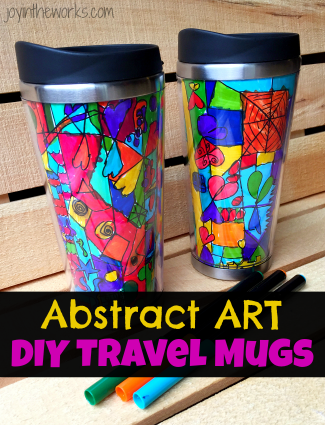 An Abstract Art Travel Mug is a perfect gift for kids to make and give to grandparents and teachers! Works great as a class gift for the teacher and includes detailed instructions on how to get the best results from the class.