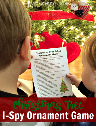 The Christmas Tree I-Spy Ornament Game is a fun family game that encourages everyone to slow down and notice the beauty of the season, especially the decorations, the Christmas tree and the ornaments