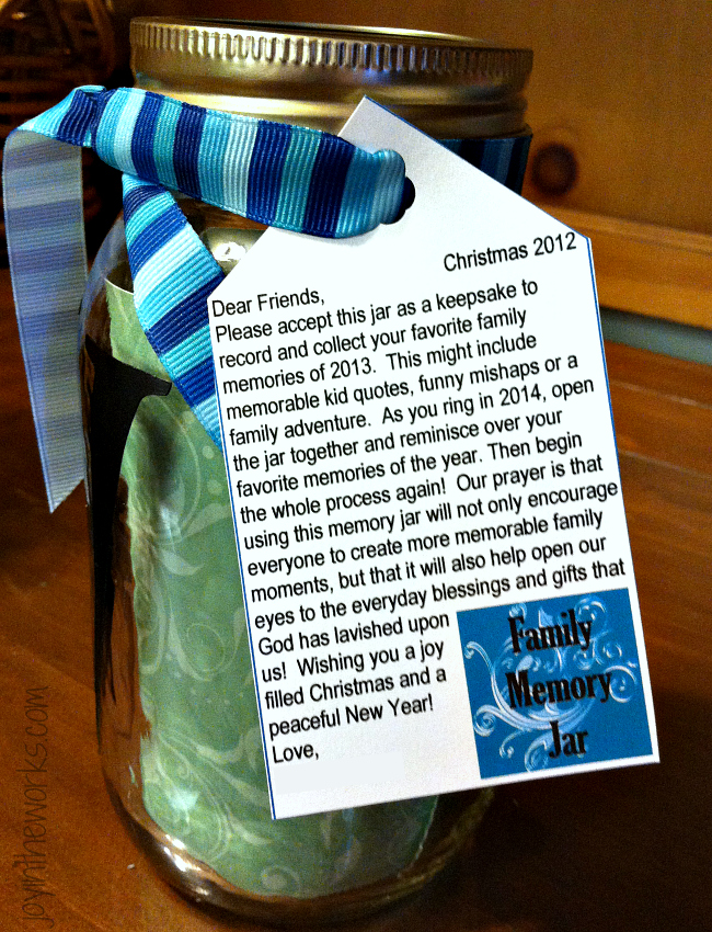 Meaningful Christmas Gift: Monogrammed Family Memory Jar with a special note encouraging families to record their special moments throughout the year...