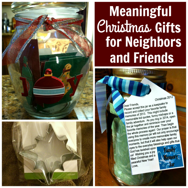 Looking to give something different this year to your friends, neighbors and child's teachers? Check out these meaningful Christmas gifts that encourage people to slow down and enjoy the season and the year to come! These meaningful gift ideas include gift tag ideas for a joy jar, a family memory jar, a family fun night and more!