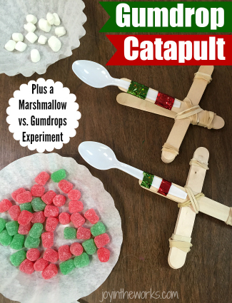 Fun #ChristmasSTEM Experiment: Make a gumdrop catapult and compare to mini marshmallows to see which one goes the farthest! #STEM