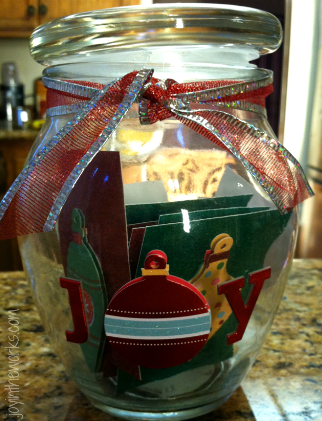 Meaningful Christmas Gift Idea: A Joy Jar! A Joy Jar is perfect for a grandparent or a Christmas gift for the teacher from the whole class. A joy jar is a chance for kids to record what about the person gives them joy!
